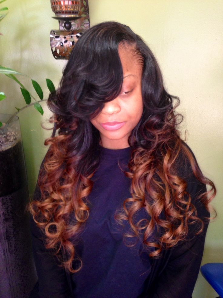 hairstyles with one short side : Ombr? weave with side part Hair Pinterest
