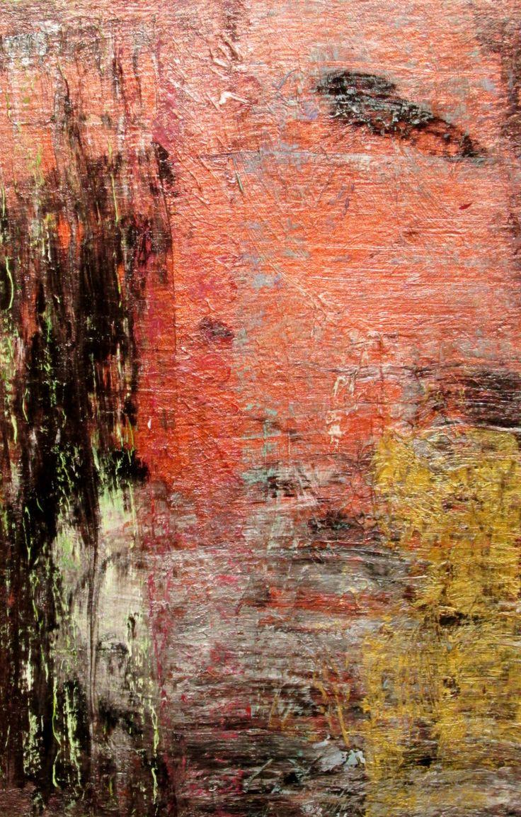 Original abstract painting acrylic metallic copper gold for Textured acrylic abstract paintings