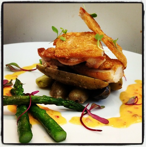 Pan Roasted Chicken, Roasted Potatoes, Asparagus, and Sambal Cream