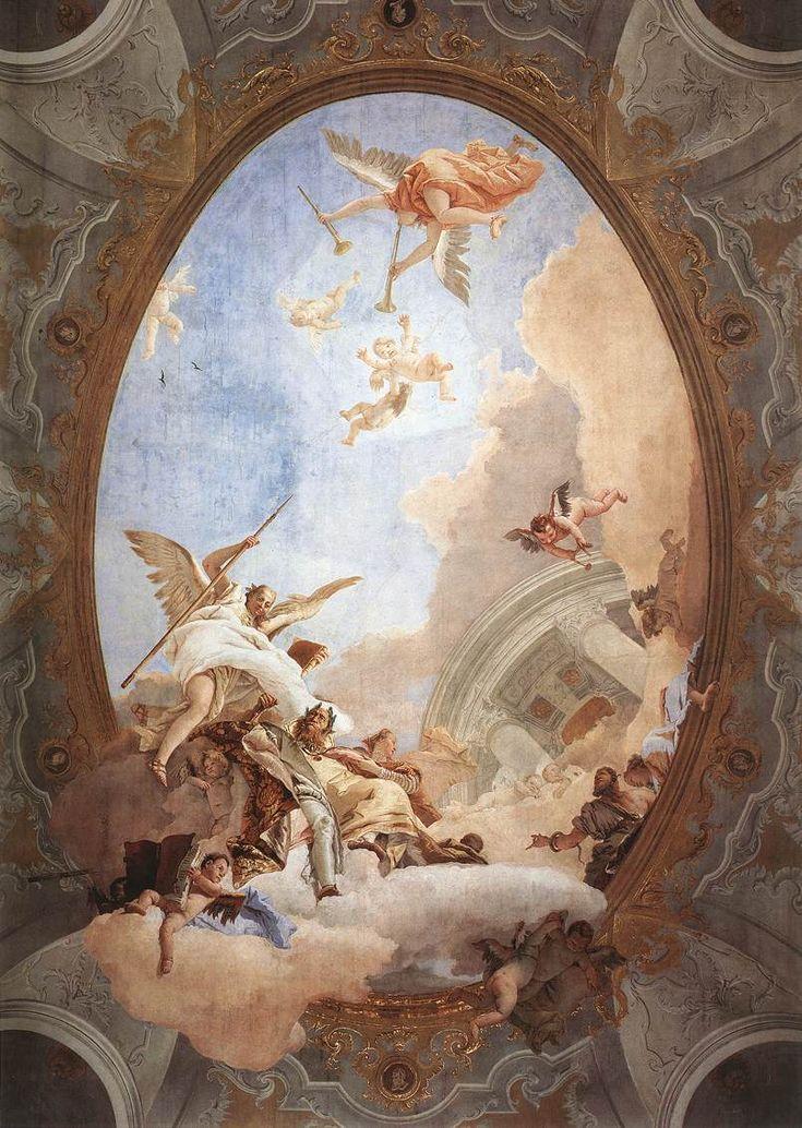 Allegory of Merit Accompanied by Nobility and Virtue 1757 - 1758 Fresco (1000 x 600 cm) Museo del Settecento Veneziano, Ca' Rezzonico, Venice, Italy, Giovanni Battista Tiepolo , 1696-1770...  From...  http://a-l-ancien-regime.tumblr.com/post/13203126224/allegory-of-merit-accompanied-by-nobility-and
