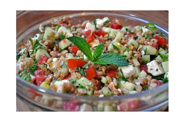 Farro Salad With Tomatoes, Cucumber, Mint, and Feta