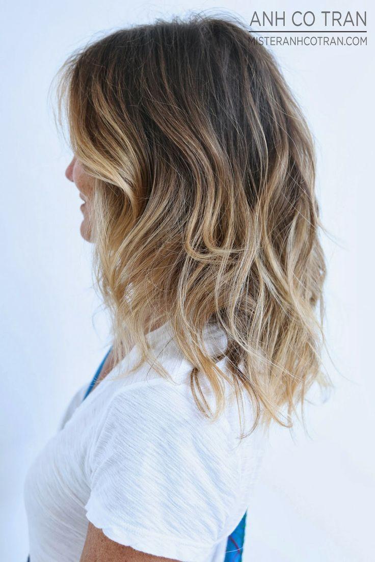Балаяж прямые волосы до плеч