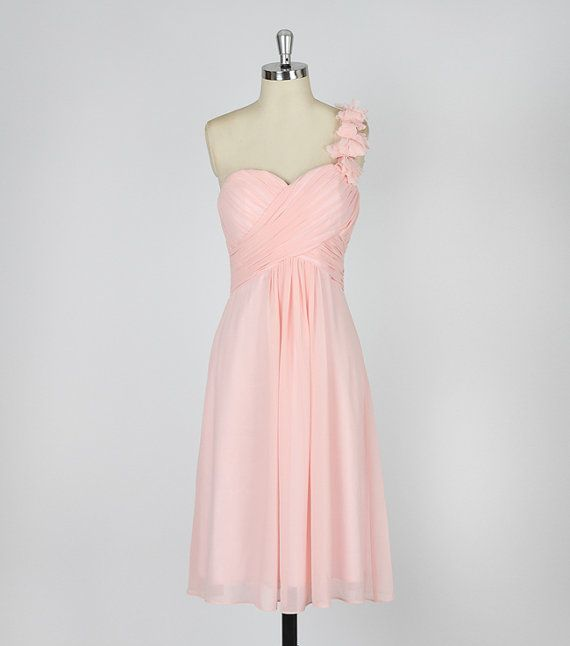 Blush pink bridesmaid dress chiffon dress with one ...