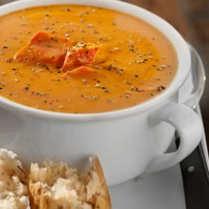 Roasted Red Pepper Soup with Yogurt Pesto Swirl. I made this and it is ...