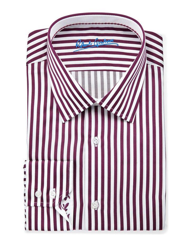 Russel Striped Dress Shirt, Burgundy