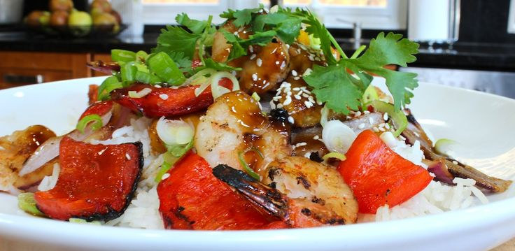 TERIYAKI GRILLED SHRIMP, PINEAPPLE & ROASTED PEPPERS from Chef Billy ...