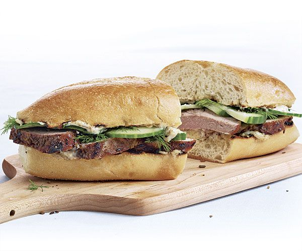 Grilled Pork Sandwiches with Fennel, Dill, and Cucumber   Recipe