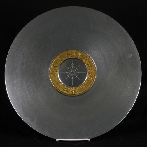 Art Deco Kensington Ware aluminum and brass ''Compass Platter'' designed by Lurelle Guild, 1935-36.
