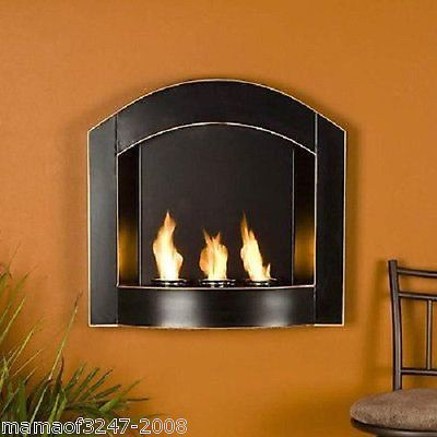 New Sei Black Arch Top Wall Mount Gel Fuel Fireplace