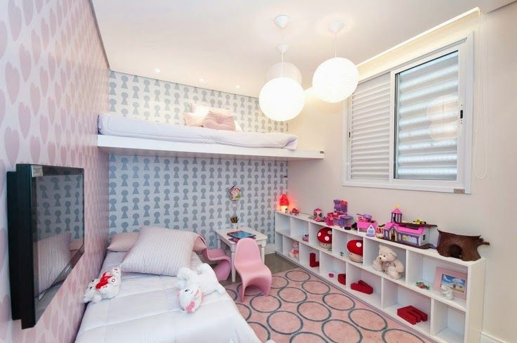 papel de parede no quarto da menina Casa ambientes  ~ Quarto Solteiro Com Papel De Parede