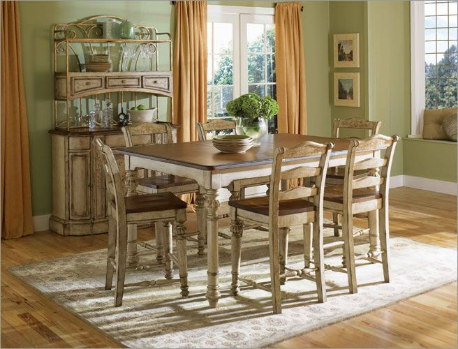 dining continents counter table set in antique white dining sets
