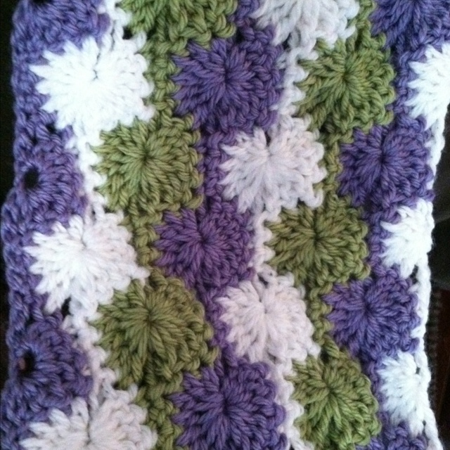 Crochet Stitches Catherine Wheel : Going to be a baby blanket made with Catherine wheel stitch crochet.