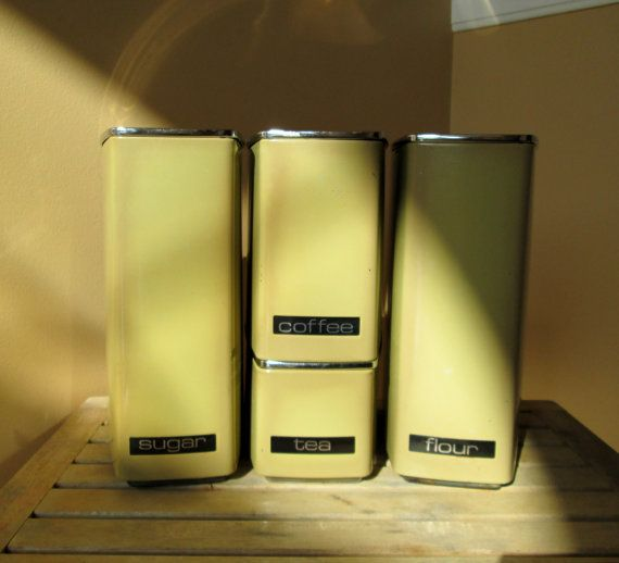Aluminum Kitchen Canisters, Olive Green, Mid Century Modern, $34
