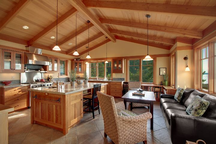 Open kitchen with wood ceiling home pinterest for Kitchen designs with cathedral ceilings