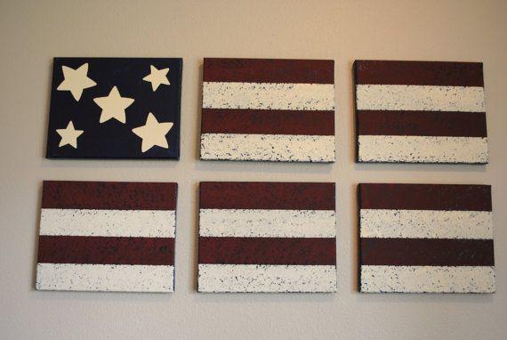 Americana Wall Decor Acrylic Paint On Canvas American Flag