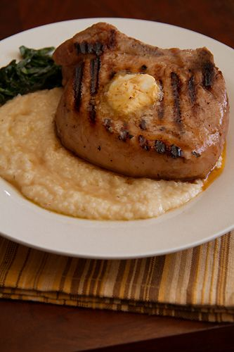 Mess Hall's Hog Chop With Cheddar Grits And Tabasco Butter Recipe ...
