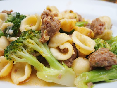 "good"" pasta: orecchiette with broccoli and hot Italian sausage 