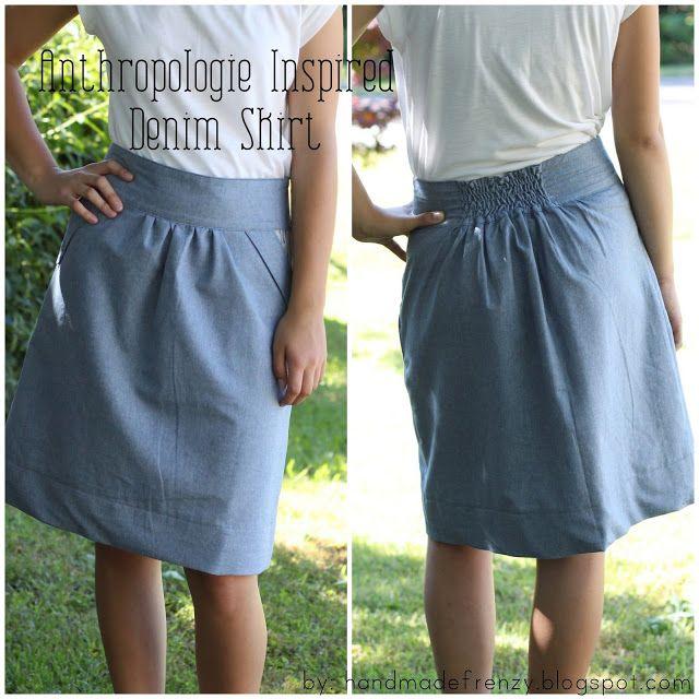 Handmade Frenzy: Anthropologie Inspired Denim Skirt