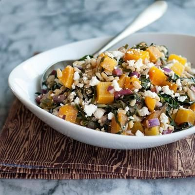 ... : Golden Beet and Barley Salad with Rainbow Chard, Red Onion, Feta