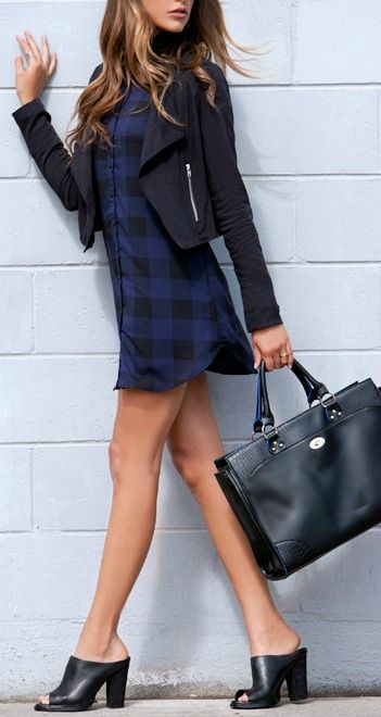 Navy Blue + Black Plaid Shirt Dress