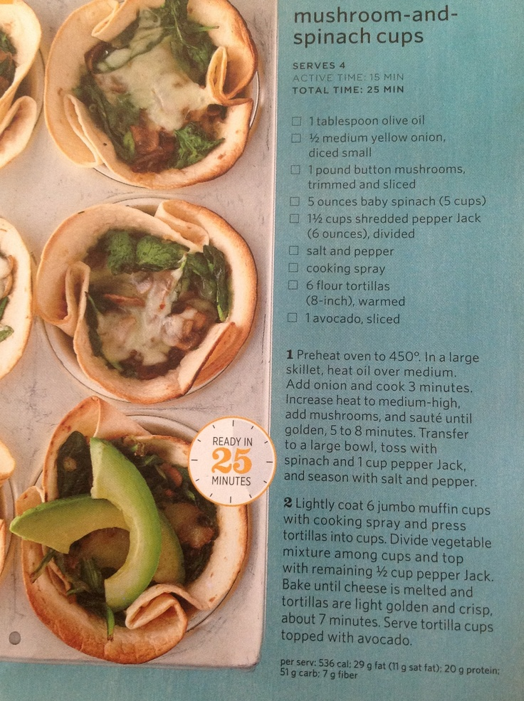 Mushrooms and spinach cups | Cook....Eat....YUMMY!!!!! | Pinterest