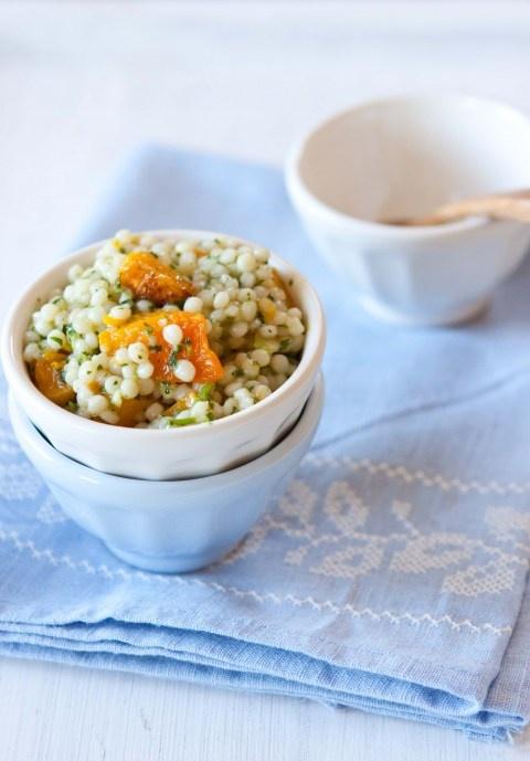 israeli couscous w/ butternut squash + cilantro sauce • five and ...