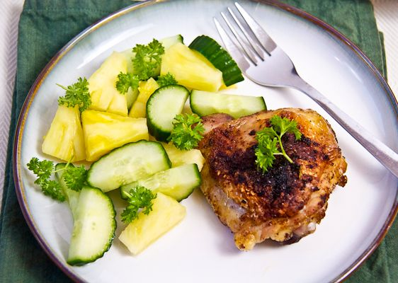 Broiled Chicken Thighs With Pineapple-Cucumber Salad via @Lyn O'Reilly