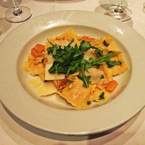 Fresh, soft pumpkin ravioli with creamy sage butter sauce, toasted ...