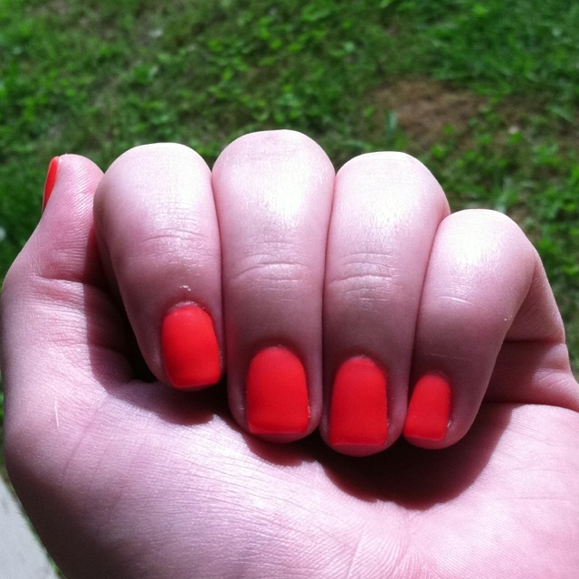 Bright orange Shellac! Love getting my nails done! :-)
