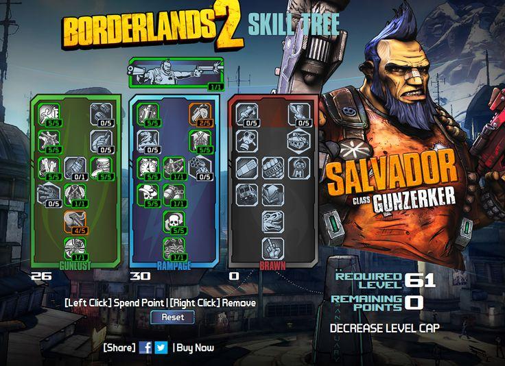 Borderlands 2 salvador gunzerker skill tree for level 61 see more
