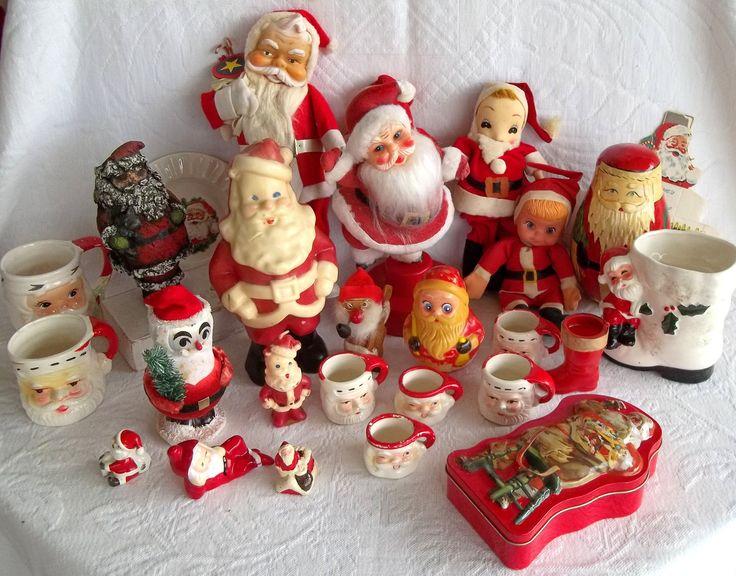 Vintage Christmas Santa Claus Decorations 1940s 1980s