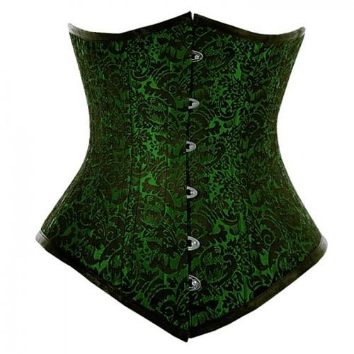 Waist training long line underbust corset in green brocade