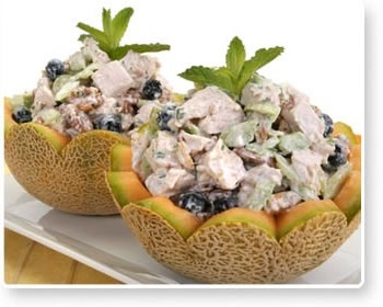 Cantaloupe with Chicken Salad | Good Eats | Pinterest