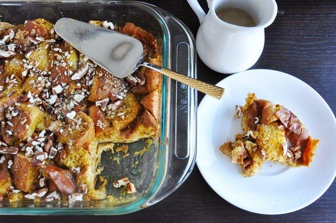 Pumpkin brioche bread pudding + Maple caramel sauce!