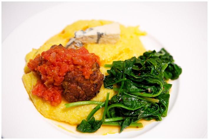 ... garlic and Marash chili peppers; Creamy polenta and Gorgonzola cheese