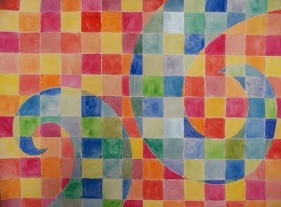 Warm/Cool Watercolour Grid - loving all the lessons here! Great art teacher blog!