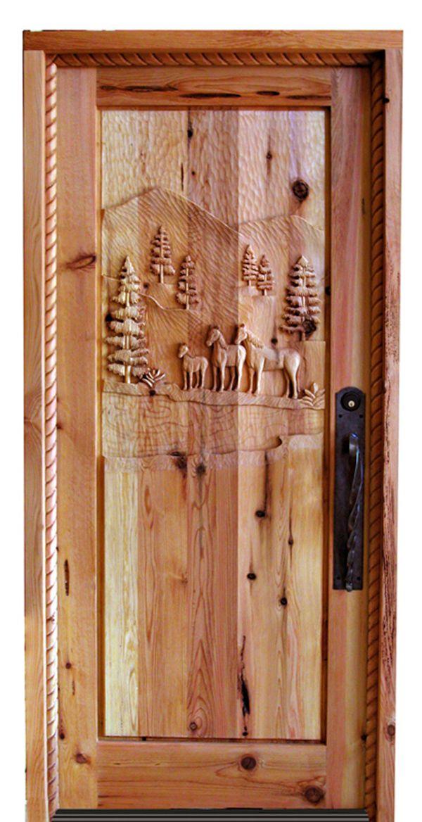 Wooden doors hand carved montana