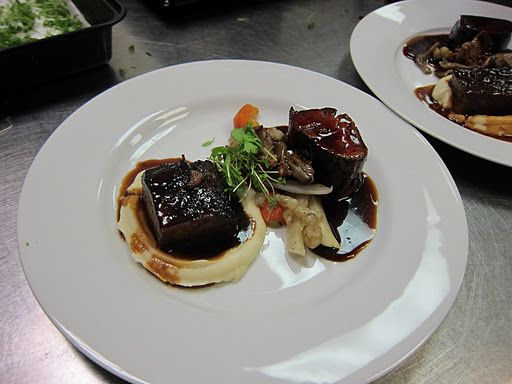 The dinner entree was a Duo of Beef - Braised Short Ribs in Red Wine ...