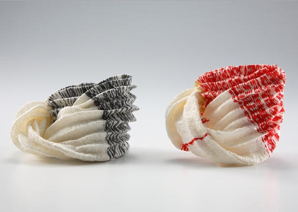 Kazumi Nagano, Japan, Brooches, Japanese paper, gold, silver pin, nylon thread and Japanese lacquer