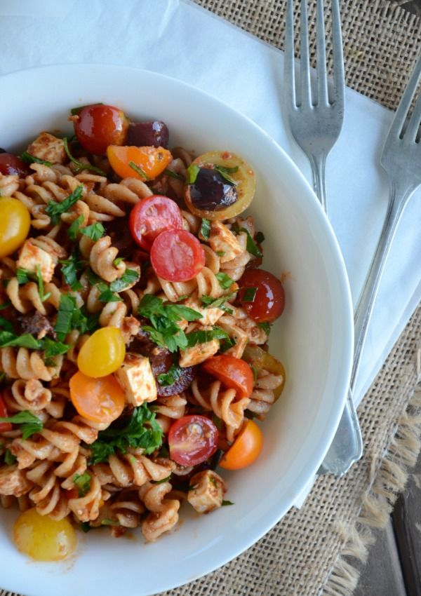 Whole Wheat Pasta Salad with Feta and Tomatoes and a Tomato ...