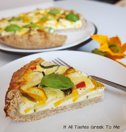 ... Tart with Zucchini blossoms, Yoghurt, Thyme, Basil and Feta cheese