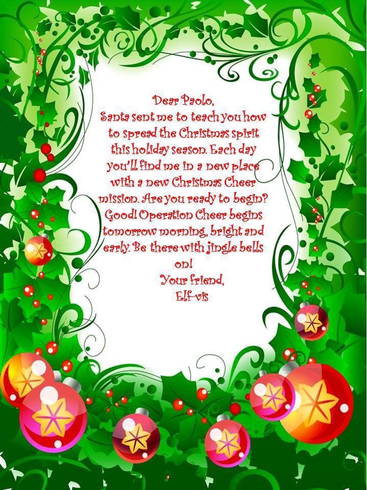 Elf on the Shelf Letter | Love this idea! | Pinterest