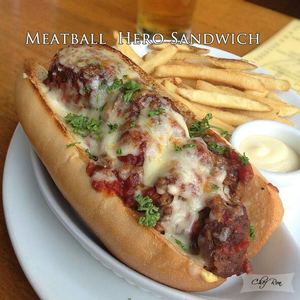 Meatballs Hero Sandwich | Hungry? | Pinterest
