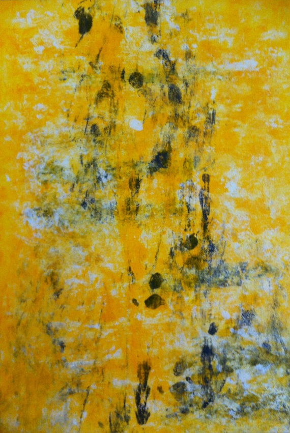 Grey And Yellow Abstract Art Painting Abstract Art
