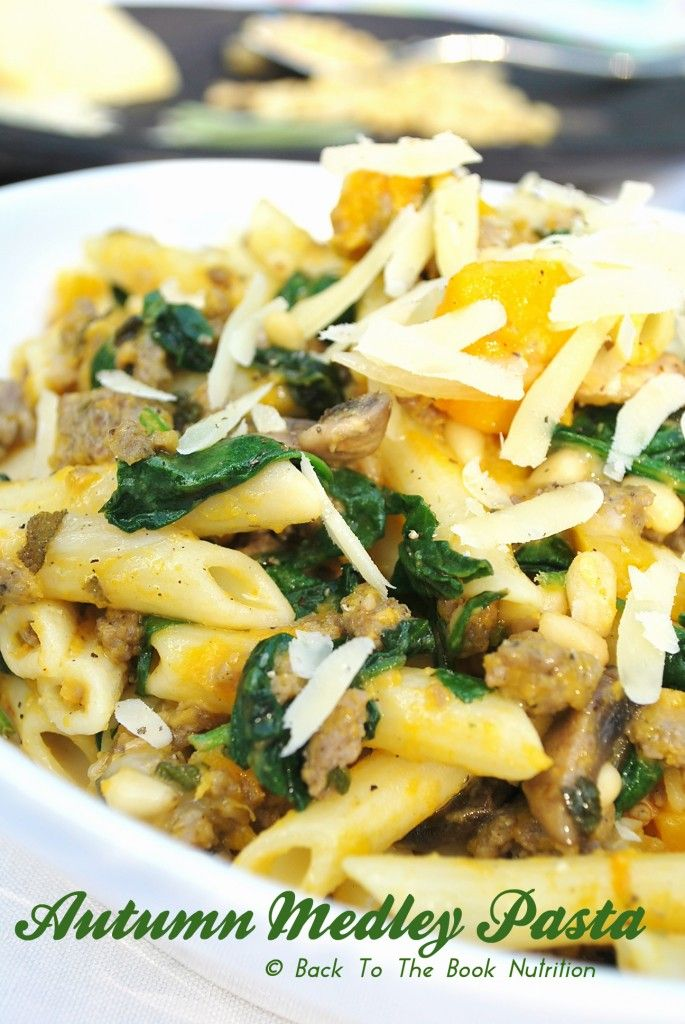 Autumn Medley Pasta with Butternut Squash, Sage, Spinach & Pine Nuts ...