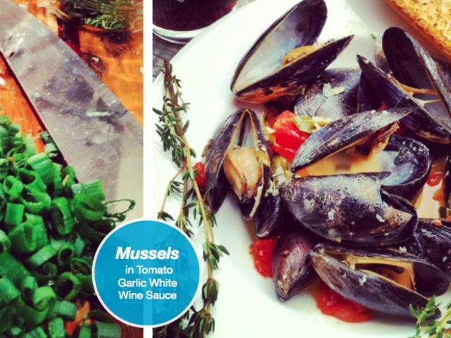 mussels in tomato, garlic, white wine sauce.
