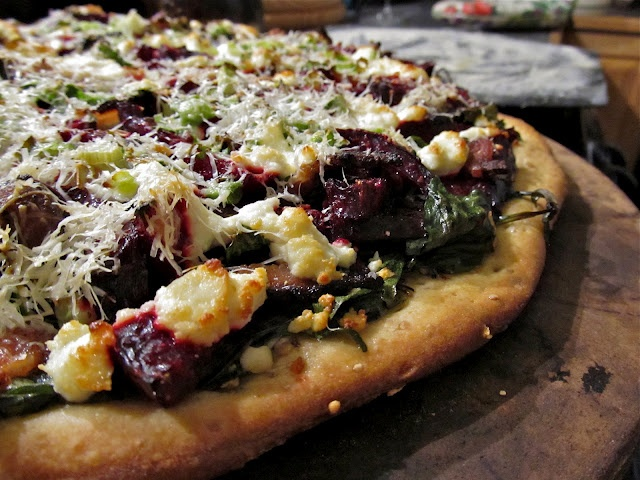 LaraThalice: Beet Pizza with Arugula and Goat Cheese