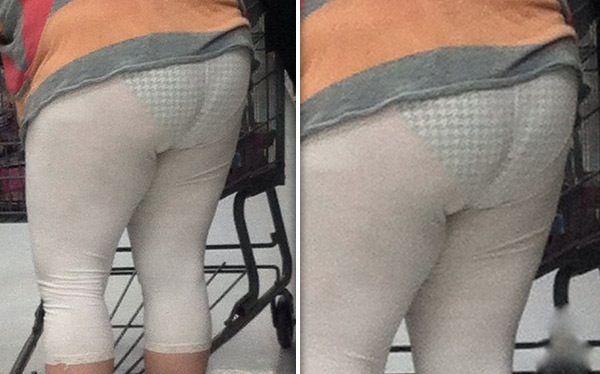 Checkered Undies Under See Through White Leggings Fashion Fail at Walmart - Funn