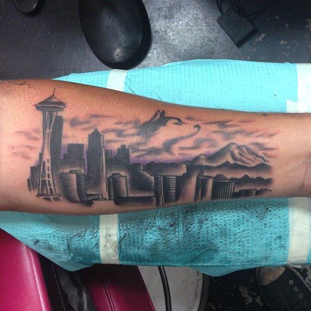 Seattle skyline tattoo by ash tattooer ash pinterest for Las vegas skyline tattoo