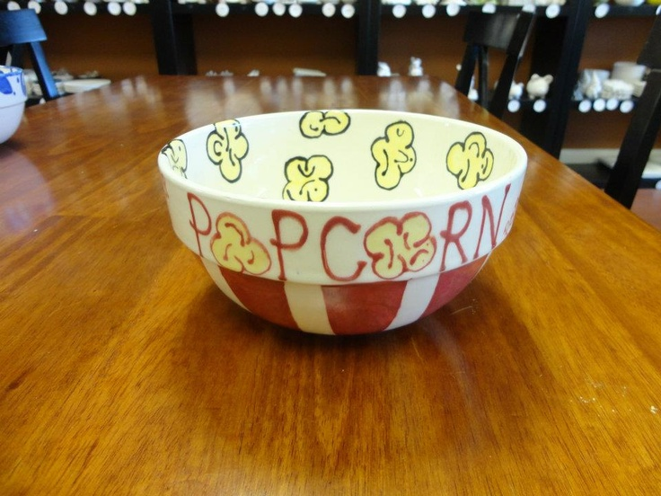 Movie night popcorn bowl paint your own pottery ideas for Bowl painting ideas